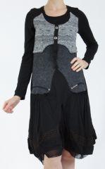 Robe femme noire et grise ethnique et chic Gélimi 304784