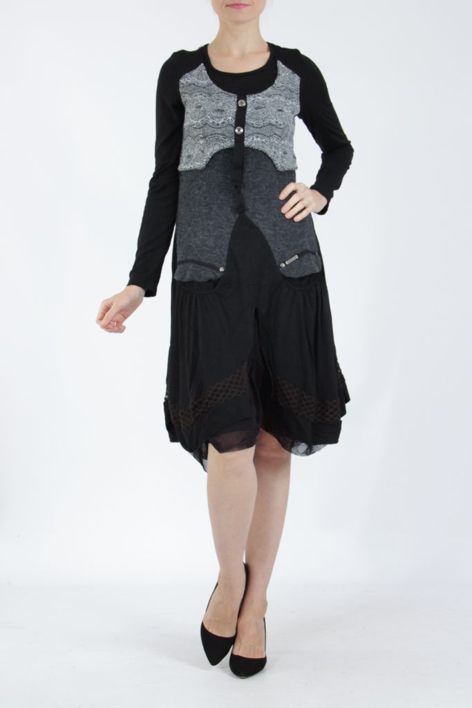 Robe femme noire et grise ethnique et chic Gélimi 304785