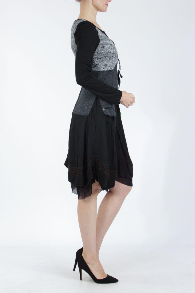Robe femme noire et grise ethnique et chic Gélimi 304786