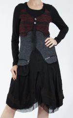 Robe femme noire et rouge pour un look bohème ethnique et chic Gélimi 304803