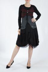 Robe femme noire et rouge pour un look bohème ethnique et chic Gélimi 304804