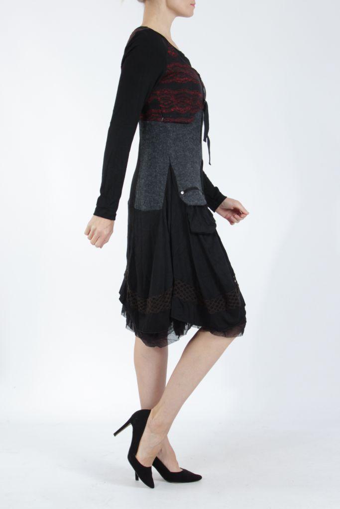Robe femme noire et rouge pour un look bohème ethnique et chic Gélimi 304805