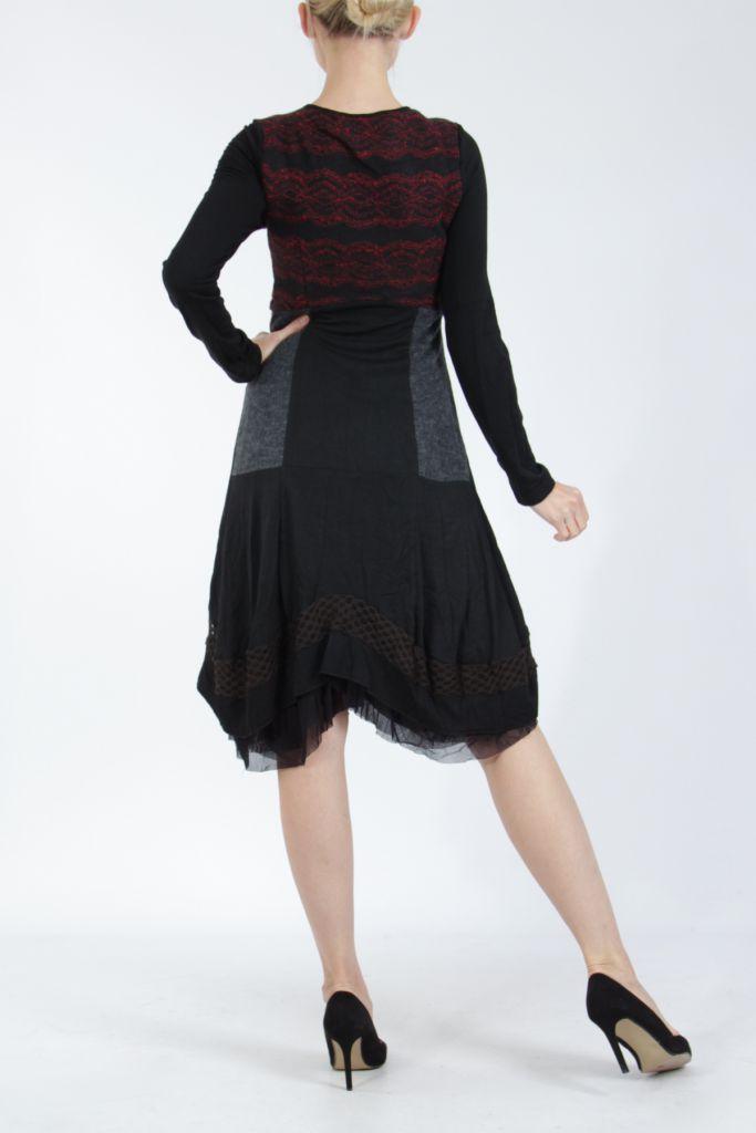 Robe femme noire et rouge pour un look bohème ethnique et chic Gélimi 304806