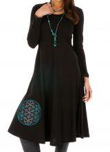 Robe femme noire ethnique et brodée du Népal Gamboula 313877