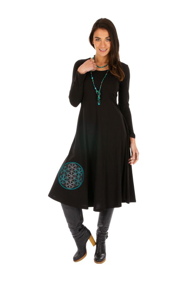Robe femme noire ethnique et brodée du Népal Gamboula 313878