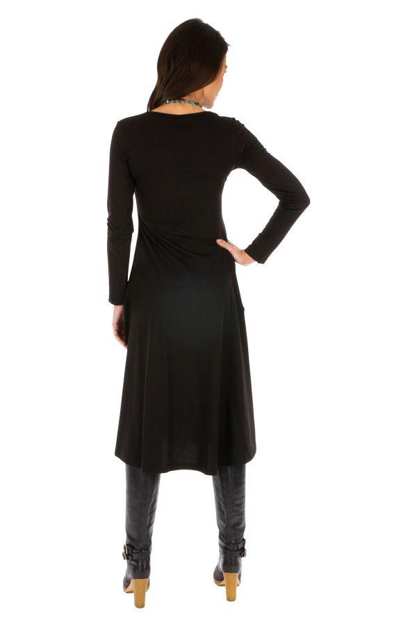 Robe femme noire ethnique et brodée du Népal Gamboula 313879