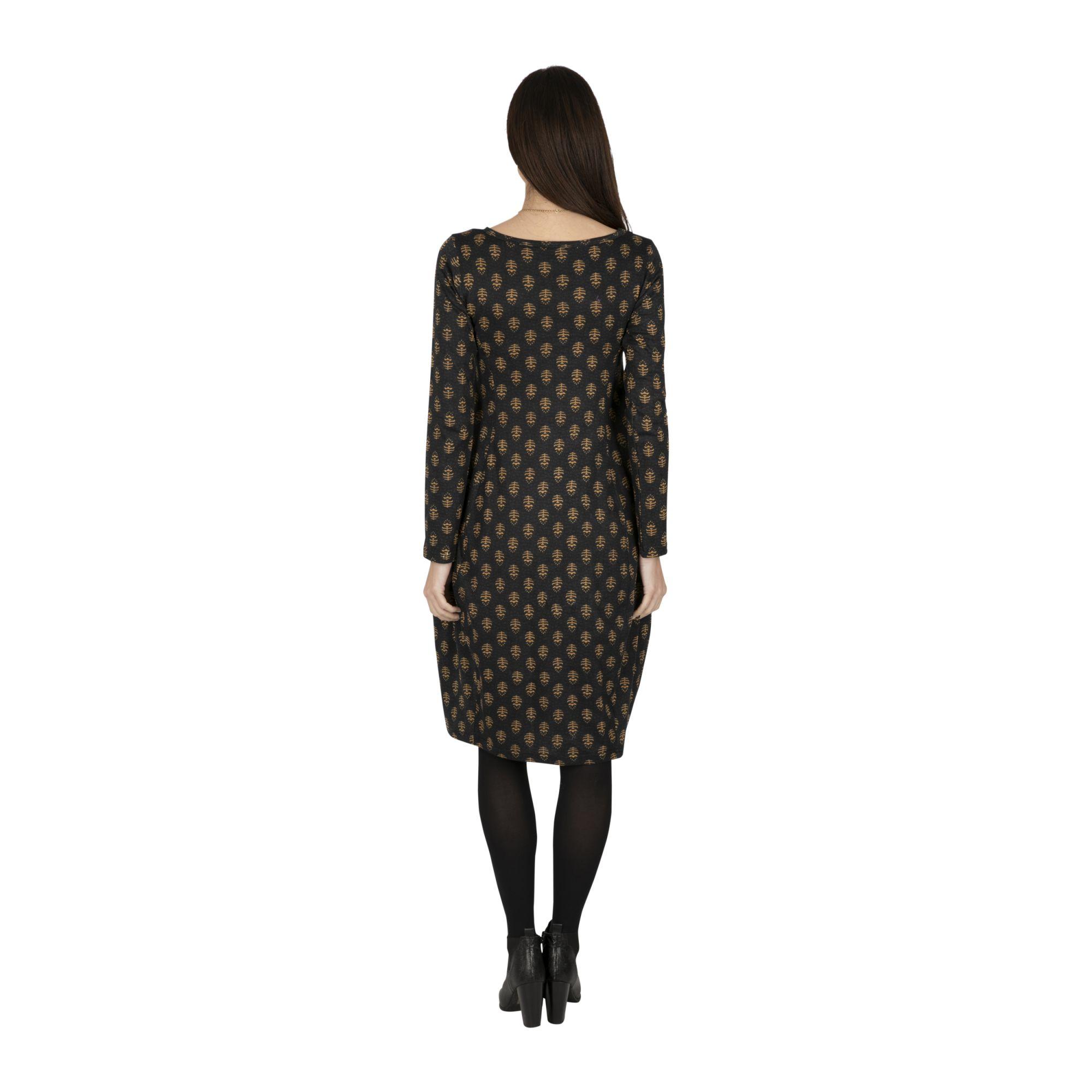 Robe femme noire hiver à imprimé graphique Huntie