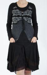 Robe femme noire pour un look bohème ethnique et chic Gélimi 304792