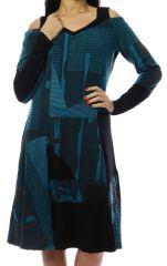 Robe femme originale et épaisse pour l'hiver Lili Bleu 303116