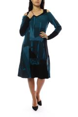 Robe femme originale et épaisse pour l'hiver Lili Bleu 303117