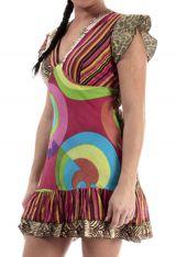 Robe femme ou tunique coton originale colorée à rayure Tina 314928
