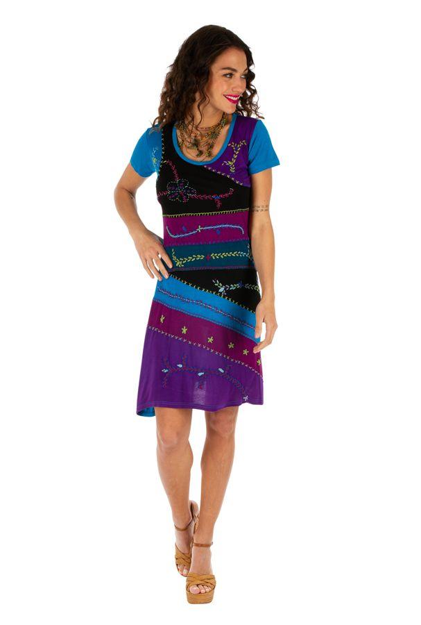 Robe femme pour l'été colorée et pas chère Awasa bleue 314234