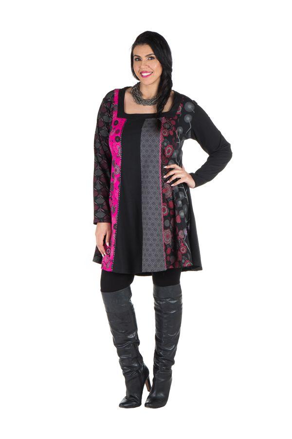 Robe femme ronde à col carré et imprimé originaux ethniques Lolita 302148