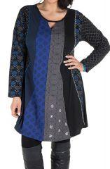 Robe femme ronde à manches longues et imprimés brodés effet panneaux melissou 302139