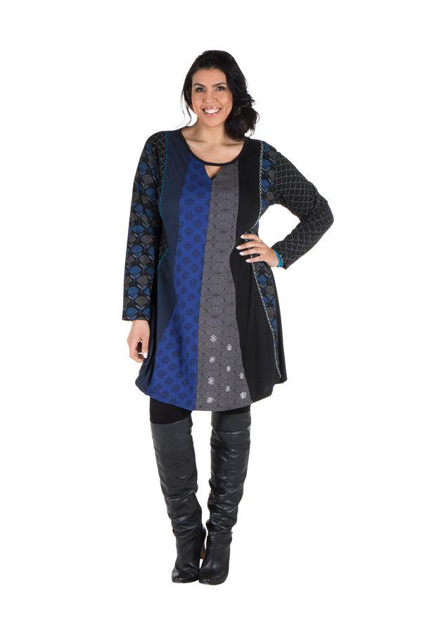 Robe femme ronde à manches longues et imprimés brodés effet panneaux melissou 302140