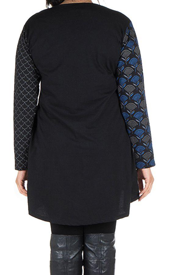 Robe femme ronde à manches longues et imprimés brodés effet panneaux melissou 302141