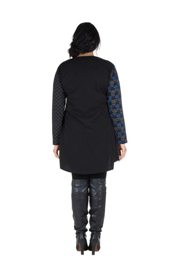 Robe femme ronde à manches longues et imprimés brodés effet panneaux melissou 302142