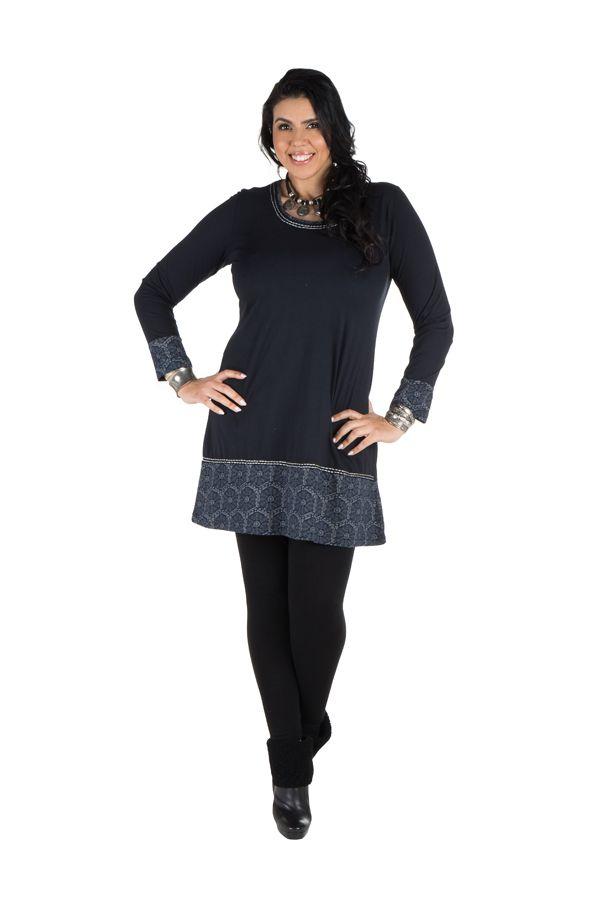 Robe femme ronde courte Bleu Marine avec col rond et imprimés hexagones Klio 301761