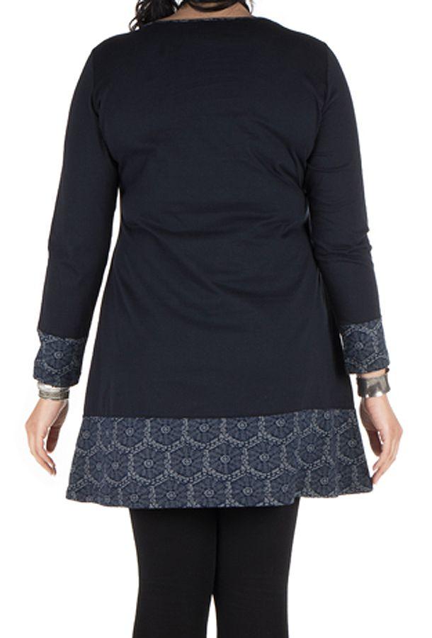 Robe femme ronde courte Bleu Marine avec col rond et imprimés hexagones Klio 301762