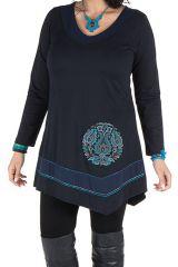 Robe femme ronde courte Bleue asymétrique manches longues Dounia 301744
