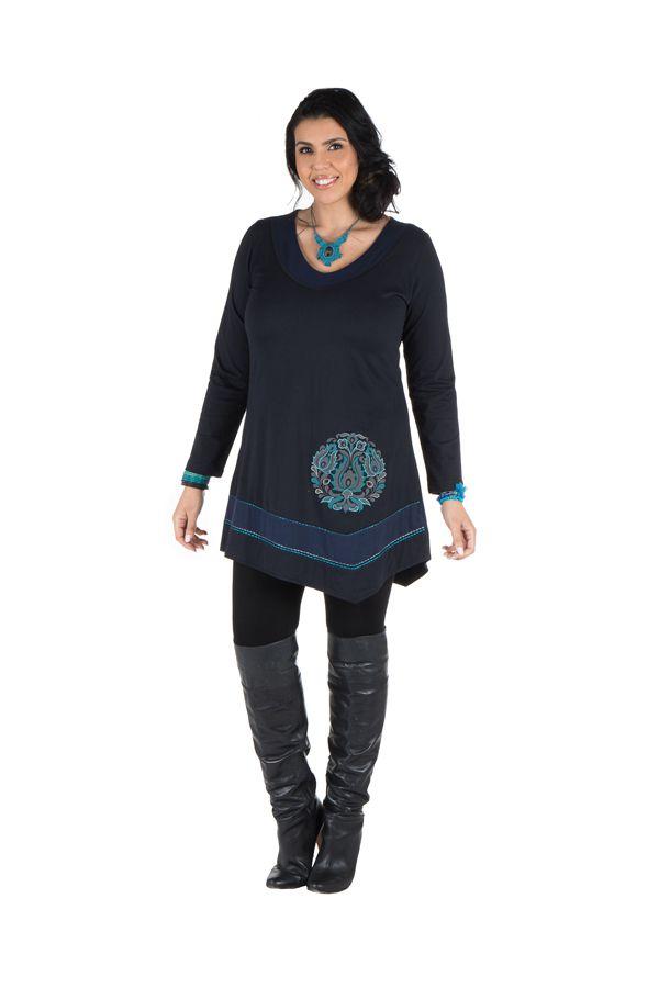 Robe femme ronde courte Bleue asymétrique manches longues Dounia 301745