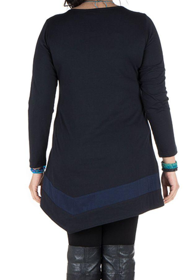 Robe femme ronde courte Bleue asymétrique manches longues Dounia 301746