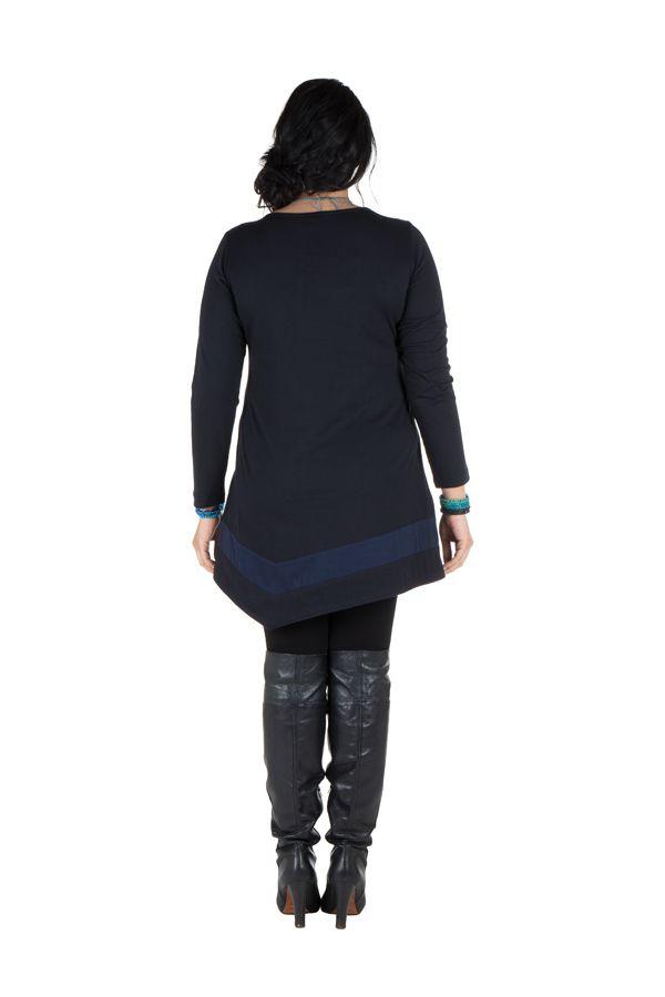 Robe femme ronde courte Bleue asymétrique manches longues Dounia 301747