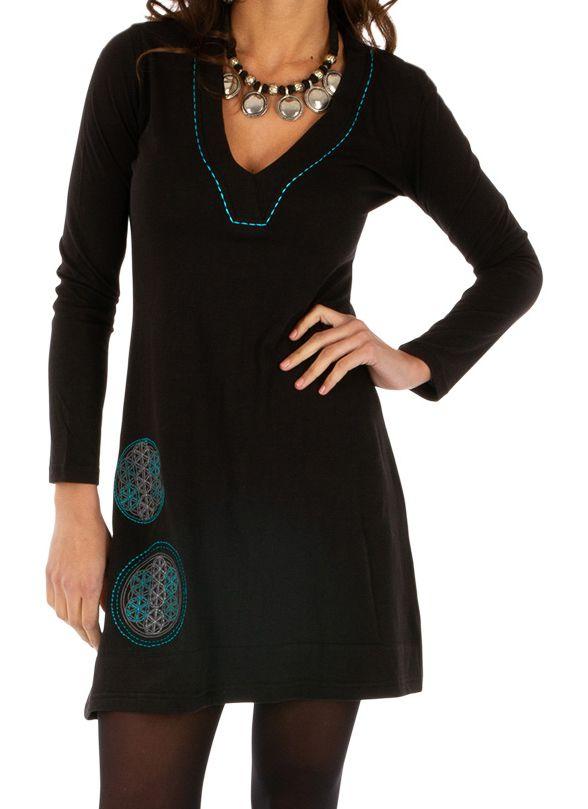 Robe femme très agréable noire aux imprimés bleus Salsa 313850