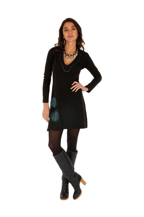 Robe femme très agréable noire aux imprimés bleus Salsa 313851