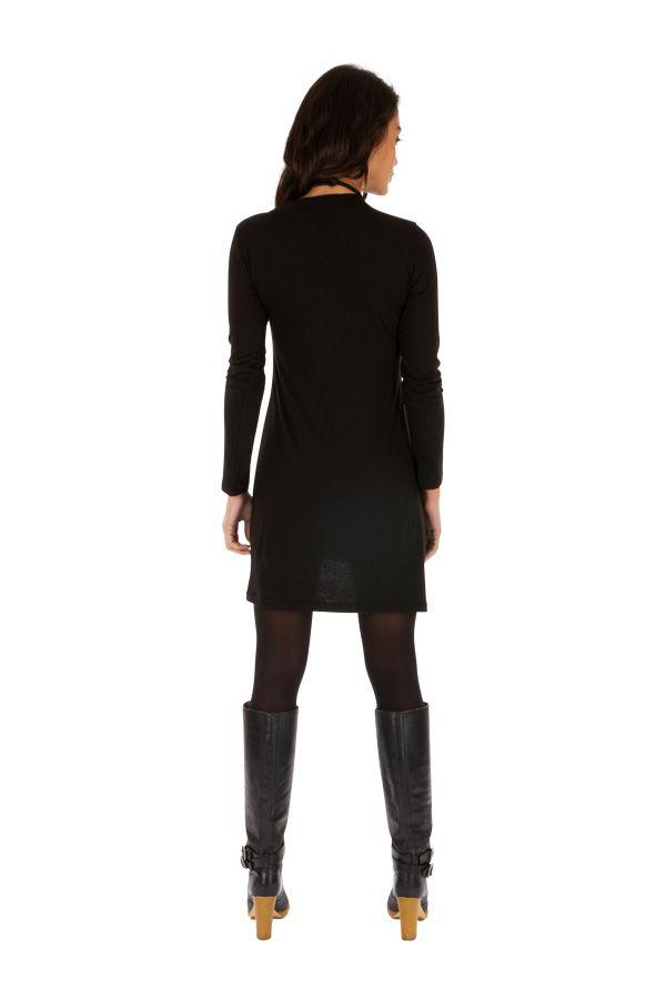 Robe femme très agréable noire aux imprimés bleus Salsa 313852