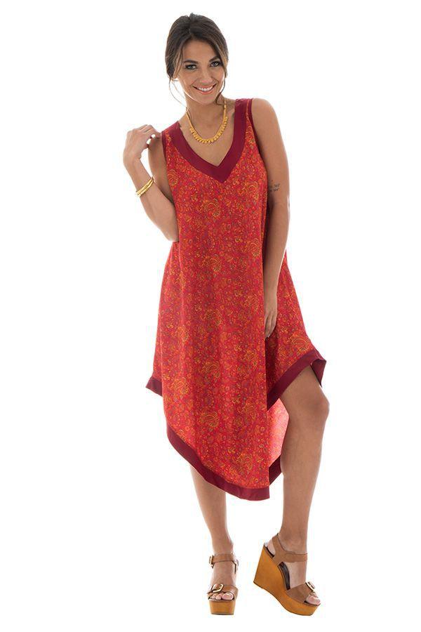 robe festive mi-longue avec col v et coupe asymétrique Rana 312528