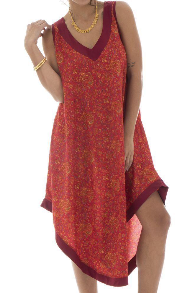 robe festive mi-longue avec col v et coupe asymétrique Rana 312530