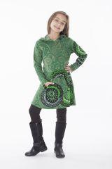 Robe fille verte effet tunique avec imprimés Myrtille 286537