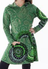 Robe fille verte effet tunique avec imprimés Myrtille 286948