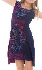 Robe Fillette très Originale Lady Réversible Fushia ou Indigo 280116