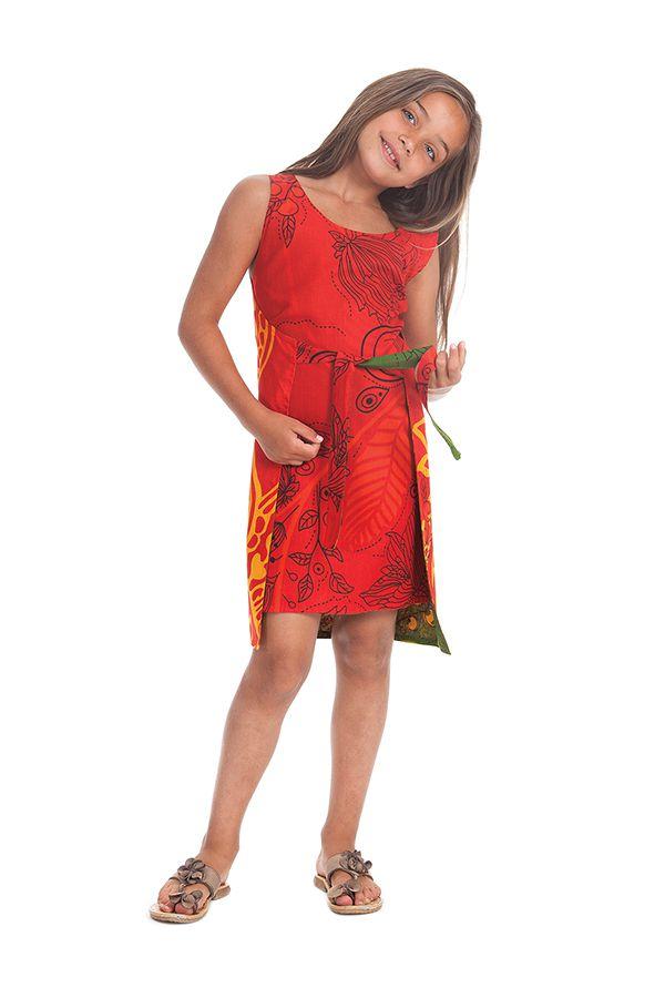 Robe Fillette très Originale Lady Verte ou Rouge Réversible 280122