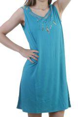 Robe fluide et légère avec bretelles fantaisies bleue Maurine 296448