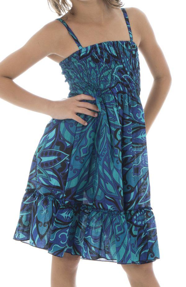 Robe fluide pour enfant pourvu d'un smocks bleue Lulu 294561