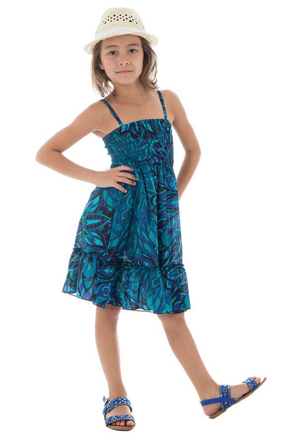 Robe fluide pour enfant pourvu d'un smocks bleue Lulu 294562