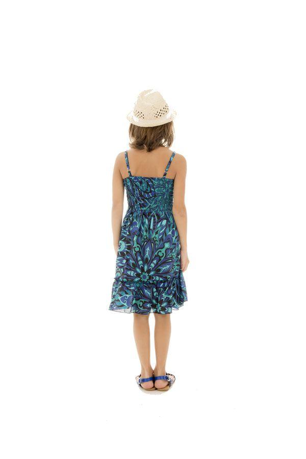 Robe fluide pour enfant pourvu d'un smocks bleue Lulu 294563