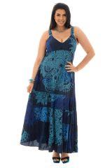 Robe grande taille à bretelles Ethnique Vincenta Bleue Foncée 293921