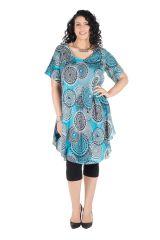 Robe grande taille à col rond et imprimé rétro Olive 296375