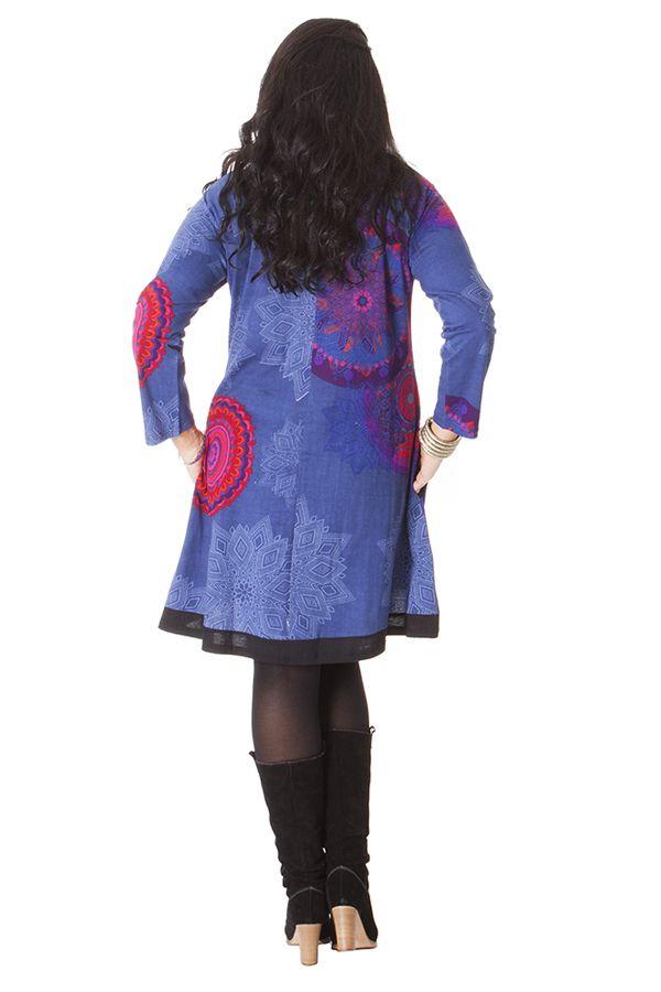Robe grande taille à col rond et manches longues 286300