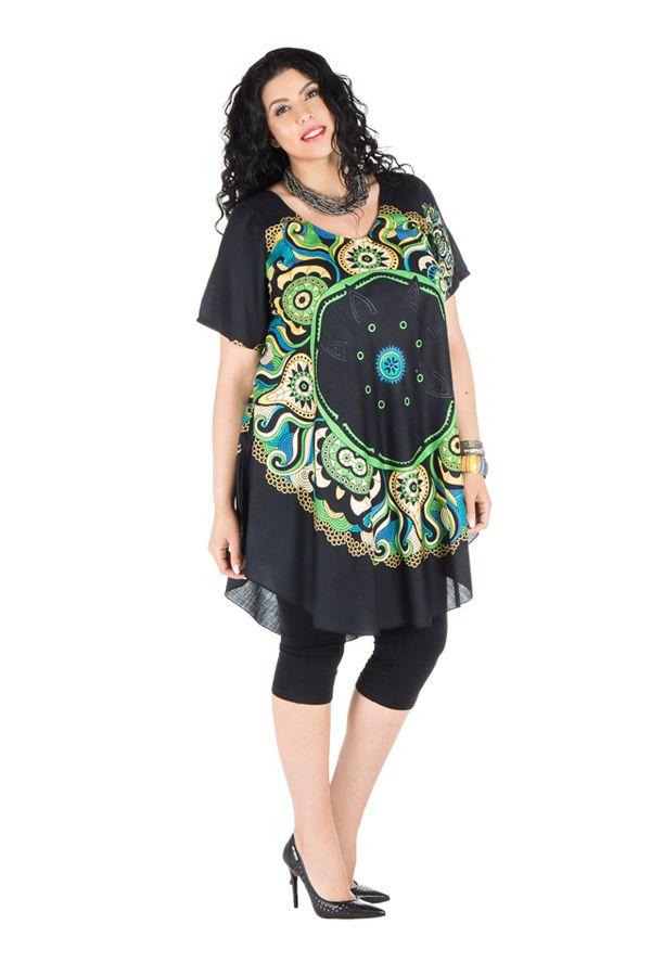 Robe grande taille agréable à porter avec imprimé original Perla 296400