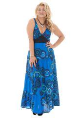 Robe grande taille avec col pigeonnant et mandalas bleue Léonie 292183