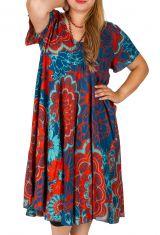 Robe grande taille colorée avec un imprimé exotique floral Alizia 306406
