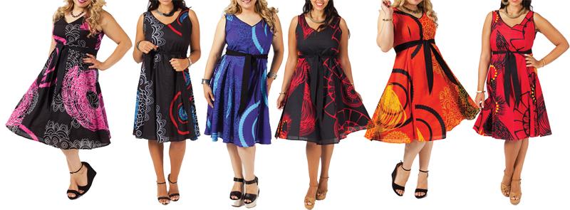 Robe grande taille colorée ou noire, originale et ethnique chic pour femme