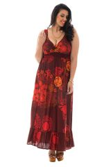 Robe grande taille coupe longue bordeaux Caty 292095