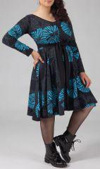 Robe grande taille Ethnique et Imprimée Kaelia Grise et Bleue 274900