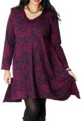 Robe Grande taille Ethnique Evasée et Imprimée Lola Framboise 286692